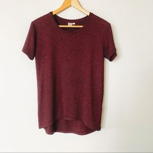 Twik Red Heathered Knit tee Size Small